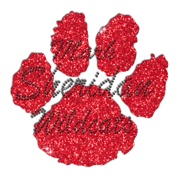 Cute Red Wildcat Paw Print Iron on Glitter Rhinestone Transfer
