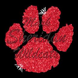 Cute Red Wildcat Paw Print Iron on Glitter Rhinestone Transfer