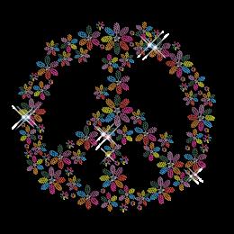 Floral Peace Iron on Rhinestone Design