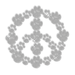 Clear Crystal Peace Love Paw Iron on Design