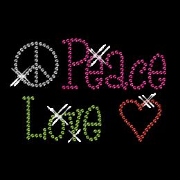 Hotfix Peace Love Rhinestone Crystal Motif