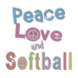 Peace Love Softball Rhinestone Iron on Designs