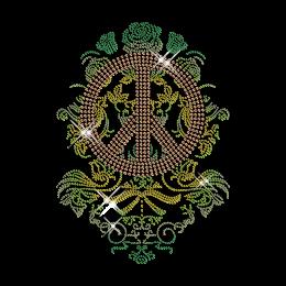 Floral Pattern Hotfix Strass Peace Sign Custom Transfer