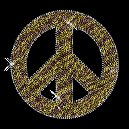 Zebra Print Peace Wholesale Rhinestone Design Iron on