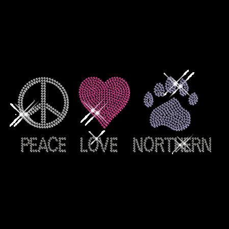 Iron on Bling Peace Love Paw Diamond Motif