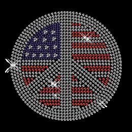 Rhinestone Hotfix Pattern Patriotic Peace Motif