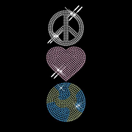 Rhinestone Peace Love Design Iron ons for T shirt