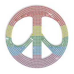 Rainbow Peace Sign Hotfix Stone Motif
