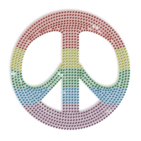 Rainbow Peace Sign Hotfix Stone Motif