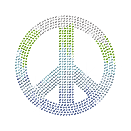 Colorful Peace Sign Rhinestone Iron ons