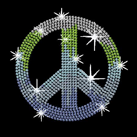 Colorful Peace Sign Rhinestone Iron ons