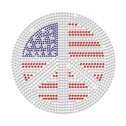 Rhinestone Peace Sign in the Star Spangled Banner Hotfix Design
