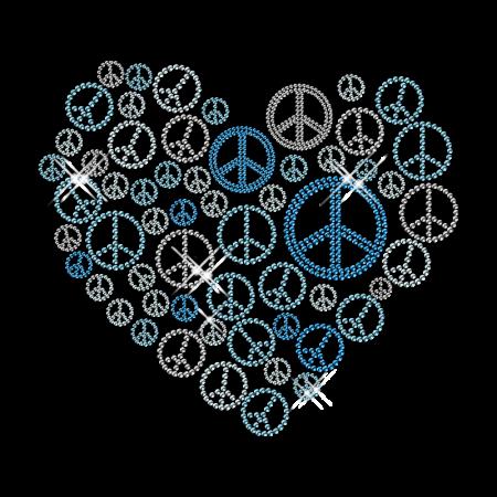 Peace Iron on Heart Stud Personalised Motif