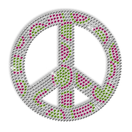 Dots Peace Sign Rhinestone Bling Iron on Motif