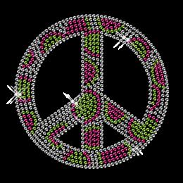 Dots Peace Sign Rhinestone Bling Iron on Motif
