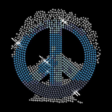 Blue Peace Sign Hotfix Diamante Transfer Wholesale