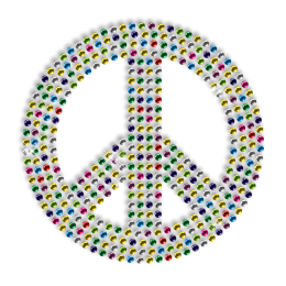 Hotfix Rhinestone Multicolor Peace Sign Transfer