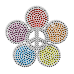 Floral Peace Iron on Rhinestud Design