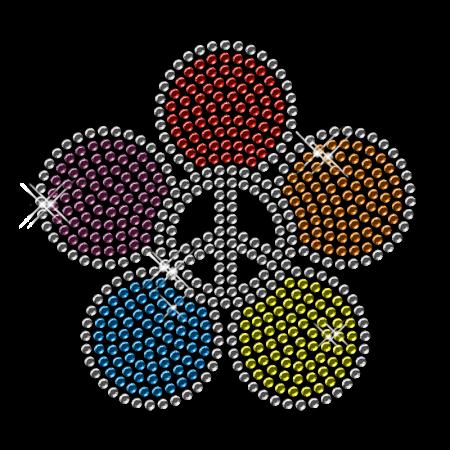 Floral Peace Iron on Rhinestud Design