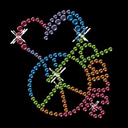 Nailhead Peace Love Dance Colorful Iron on Design