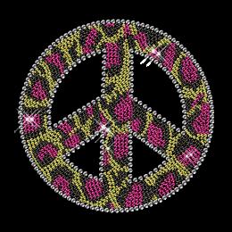 Pink Leopard Print Iron on Rhinestud Peace Motif