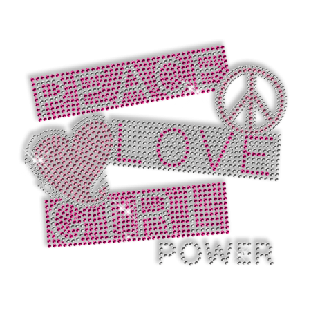 Peace Love Girl Rhinestud Pattern Iron ons