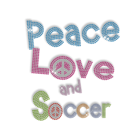Colorful Iron on Peace Love Strass Design
