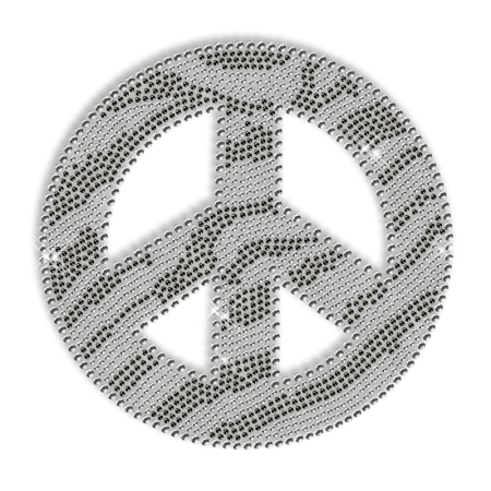 Python Peace Sign Iron on Crystal Transfer