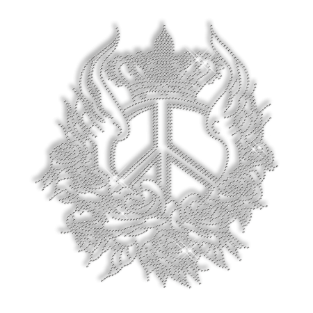 Grand Peace Sign with Wings Rhinestone Iron on Design