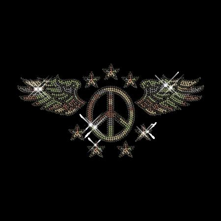 Rhinestud Peace Sign Custom Iron on Logo