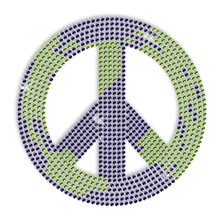 Rhinestone Bling Peace Sign Iron on Graphics