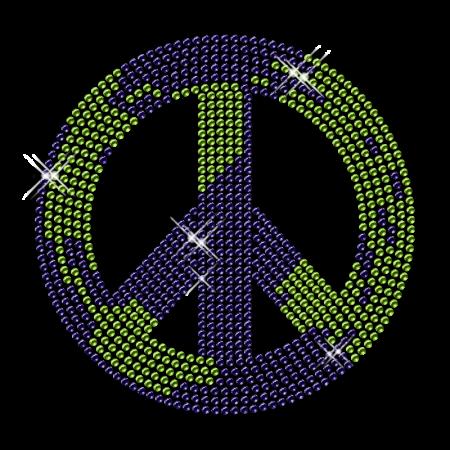 Rhinestone Bling Peace Sign Iron on Graphics