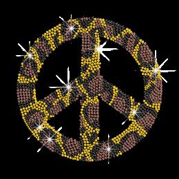 Leopard Print Peace Sign Iron-on Rhinestone Transfer