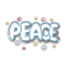 Glistering Peace Love Heat Press Nailhead Iron-on Transfer
