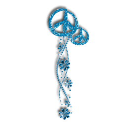 Teal Peace Sign & Flowers Iron-on Glitter Rhinestone Transfer