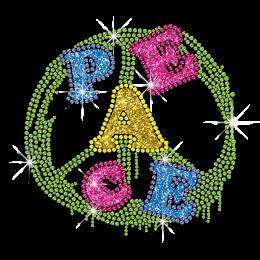 Colorful Peace Love Glitter Neon Stud Iron-on Transfer