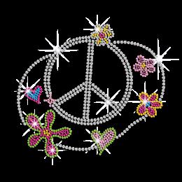 Cute Peace Love Flowers Iron-on Rhinestone Transfer