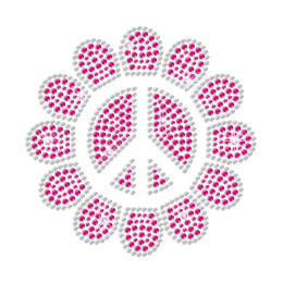 Cutsy Peace in Sunflower Iron-on Rhinestone Transfer Design