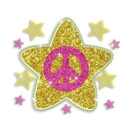 Vegas Show Cute Peace Sign with Stars Glitter Iron on Rhinestone Transfer