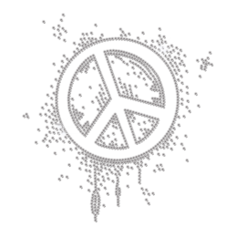 Lively Crystal Peace Sign Iron-on Rhinestone Transfer
