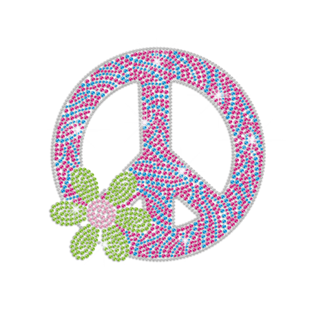 Green Flower & Peace Sign Iron-on Rhinestone Transfer