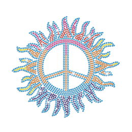Multicolor Bling Peace Sign Iron-on Rhinestone Transfer