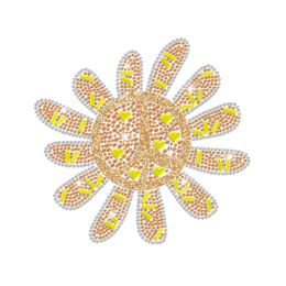 Cute Sunflower Peace Sign Hotfix Rhinestone Transfer Design