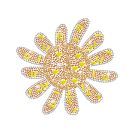 Cute Sunflower Peace Sign Hotfix Rhinestone Transfer Design