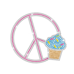 Pretty Cupcake & Peace Sign Iron-on Rhinestone Transfer