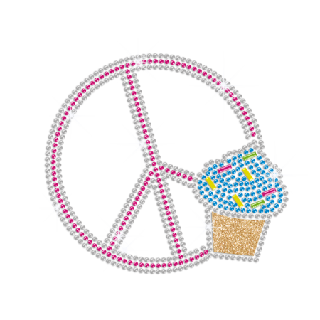 Pretty Cupcake & Peace Sign Iron-on Rhinestone Transfer