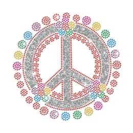 Colorful Flowers & Peace Sign Iron on Rhinestone Transfer