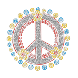 Sparkling Flowers & Peace Sign Iron on Rhinestone Transfer