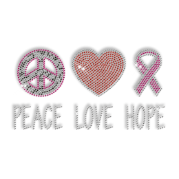 Rhinestone Peace Love and Hope Iron on Transfers Motif for Clothes