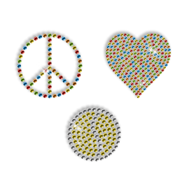 Shining Colorful Rhinestone Transfer Iron ons Peace Love Motif For Shirts